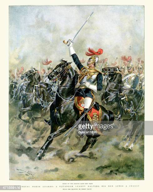 british army - the royal horse guards 19th century - animals charging stock illustrations, clip art, cartoons, & icons