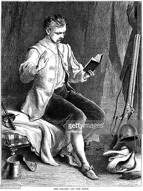 illustrations, cliparts, dessins animés et icônes de soldat de la guerre de sécession britannique lecture de la bible - image du xixème siècle