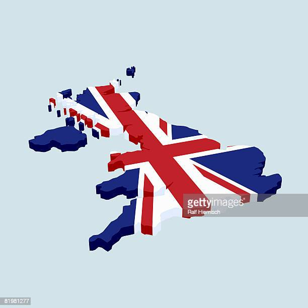 british flag in the shape of great britain - british culture stock illustrations