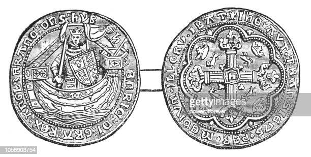 british gold noble coin of king edward iii (14th century) - circa 14th century stock illustrations, clip art, cartoons, & icons