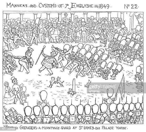 British grenadiers mounting guard at St James's Palace Yard