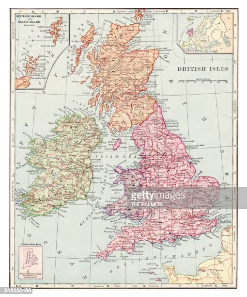 british isles map 1892 - england stock illustrations