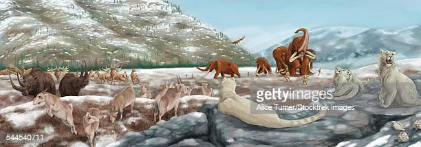 British landscape with various prehistoric animals.