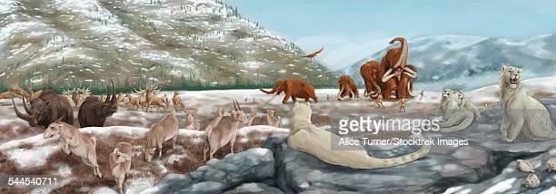ilustraciones, imágenes clip art, dibujos animados e iconos de stock de british landscape with various prehistoric animals. - biodiversidad