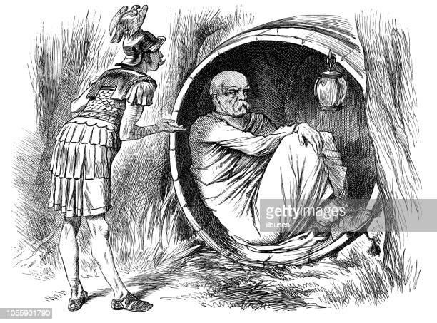 ilustrações, clipart, desenhos animados e ícones de sátira britânica londres caricatura de quadrinhos desenhos animados ilustrações: alexandre e diógenes - filósofo