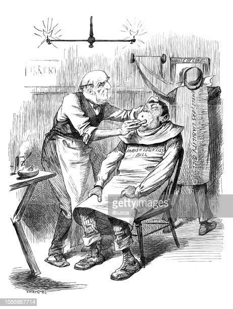 illustrations, cliparts, dessins animés et icônes de satire de londres british caricature illustrations cartoon bd: barber - coiffeur humour