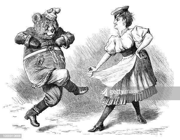 illustrations, cliparts, dessins animés et icônes de satire de londres british caricature illustrations cartoon bd: ours dansant - dancing bear