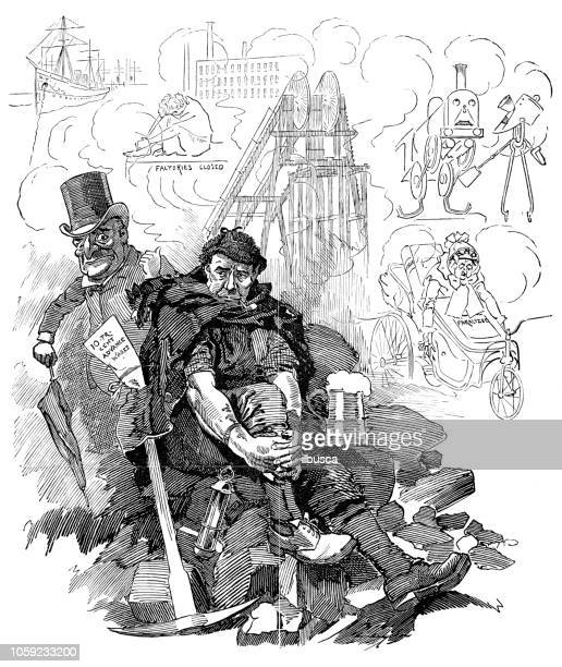 british london satire caricatures comics cartoon illustrations: coal - striker stock illustrations