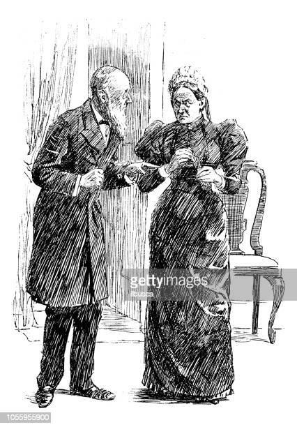 British London satire caricatures comics cartoon illustrations: Couple