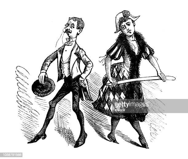 British London satire caricatures comics cartoon illustrations: Couple harlequin