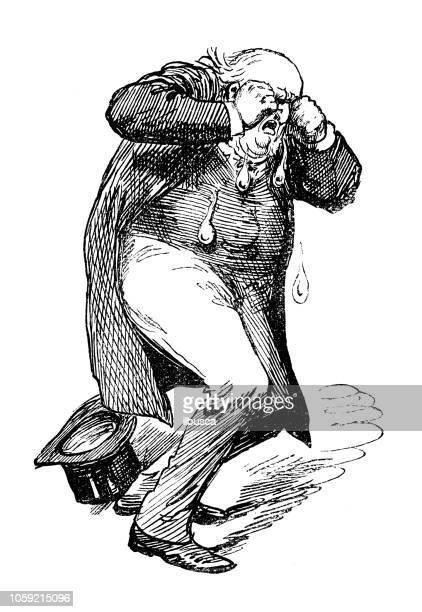 ilustraciones, imágenes clip art, dibujos animados e iconos de stock de sátira británica londres caricaturiza comics dibujos animados ilustraciones: llorando - hombre llorando