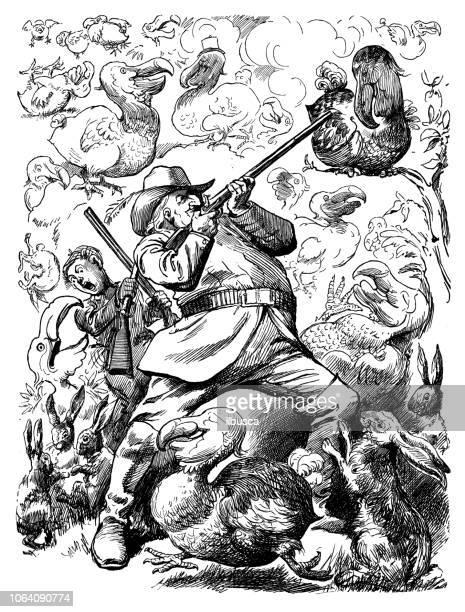 illustrations, cliparts, dessins animés et icônes de satire de londres british caricature illustrations cartoon bd: chasseur de dodo - chasseur