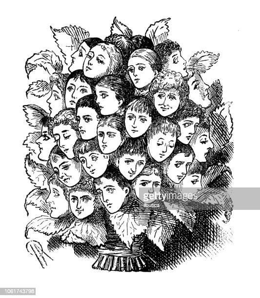 british london satire caricatures comics cartoon illustrations: faces - satire stock illustrations