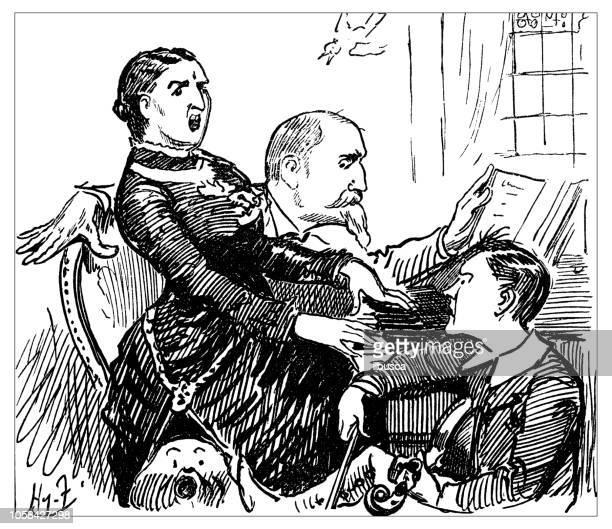 british london satire caricatures comics cartoon illustrations: family fight - family fighting cartoon stock illustrations