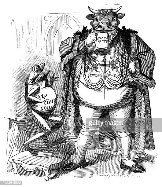 British London satire caricatures comics cartoon illustrations: Frog and bull