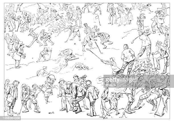 britische london satire karikiert comic cartoon illustrationen: golfspieler - golf lustig stock-grafiken, -clipart, -cartoons und -symbole