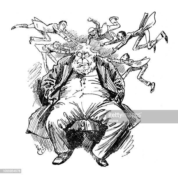 ilustraciones, imágenes clip art, dibujos animados e iconos de stock de sátira británica londres caricaturiza comics dibujos animados ilustraciones: tirar el pelo - tirarse de los pelos