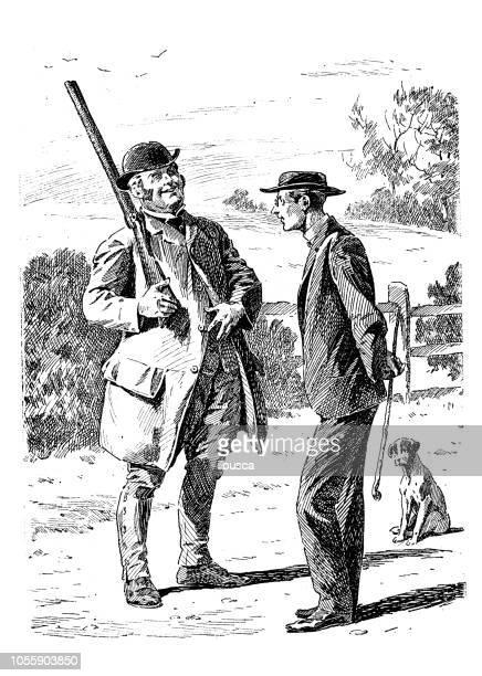 illustrations, cliparts, dessins animés et icônes de satire de londres british caricature illustrations cartoon bd: hunter et prêtre - chasseur
