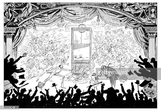 British London satire caricatures comics cartoon illustrations: Guillotine