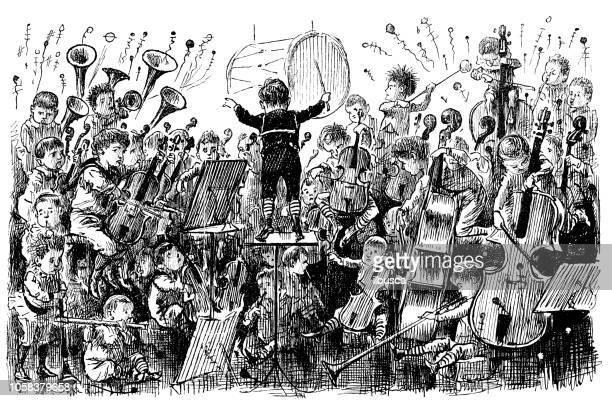 British London satire caricatures comics cartoon illustrations: Children orchestra