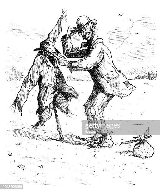 british london satire caricatures comics cartoon illustrations: scarecrow - vagabond stock illustrations, clip art, cartoons, & icons