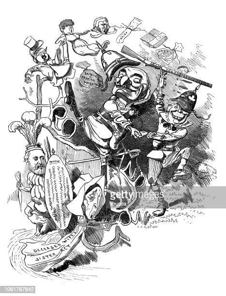british london satire caricatures comics cartoon illustrations - satire stock illustrations
