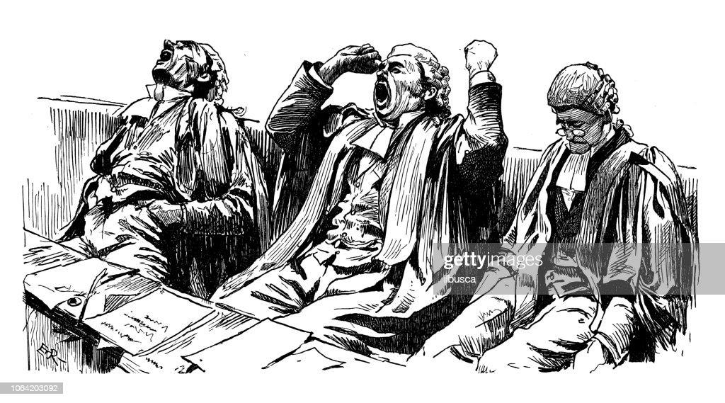 Britse Londen satire karikaturen strips cartoon illustraties: gapende rechters : Stockillustraties