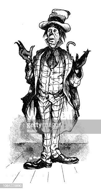 british london satire caricatures comics cartoon illustrations - vagabond stock illustrations, clip art, cartoons, & icons