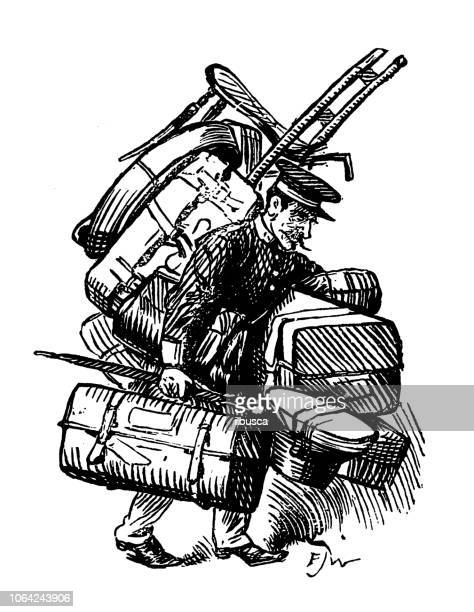 British London satire caricatures comics cartoon illustrations: Luggage