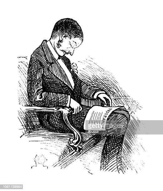 british london satire caricatures comics cartoon illustrations: sleeping in theatre - theater industry stock illustrations, clip art, cartoons, & icons
