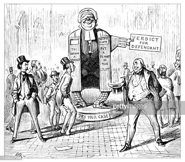 British London satire caricatures comics cartoon illustrations: Automatic Judge
