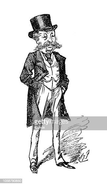 british london satire caricatures comics cartoon illustrations: man - top hat stock illustrations