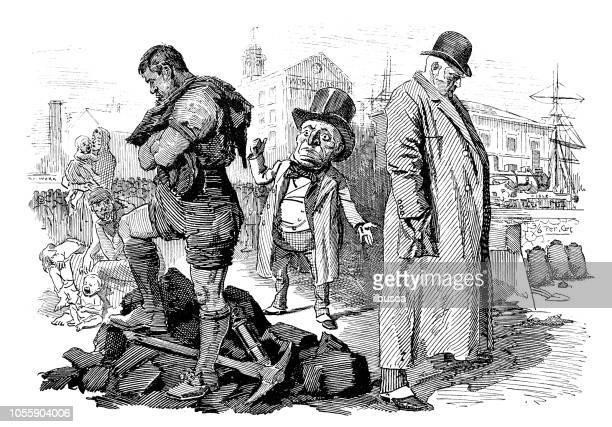 british london satire caricatures comics cartoon illustrations: miners and coal owners - striker stock illustrations