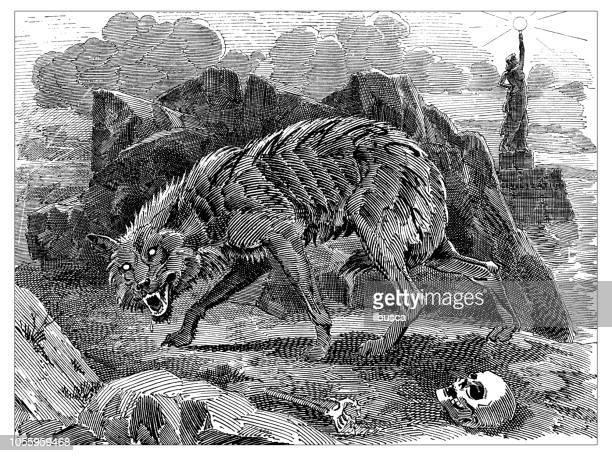 ilustrações de stock, clip art, desenhos animados e ícones de british london satire caricatures comics cartoon illustrations: werewolf of anarchy - lobisomem