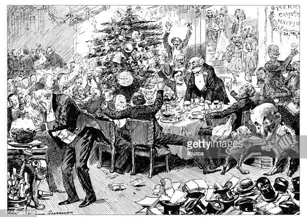 british london satire caricatures comics cartoon illustrations: christmas party - political party stock illustrations