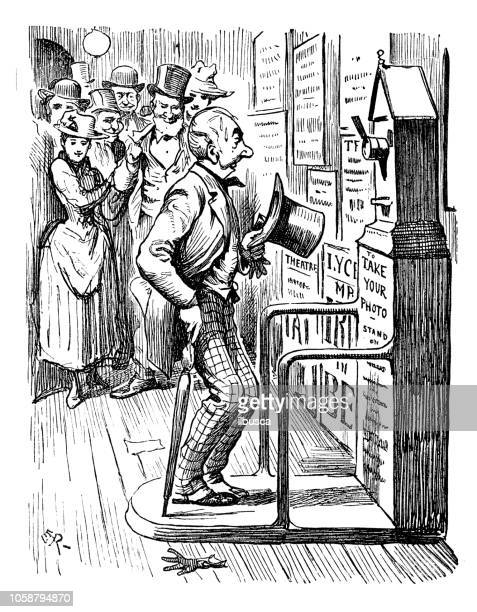 British London satire caricatures comics cartoon illustrations: Automatic photo booth