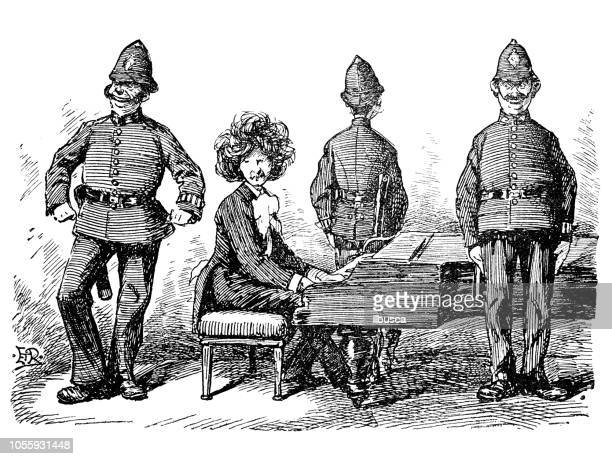 british london satire caricatures comics cartoon illustrations: police protection for pianist - satire stock illustrations