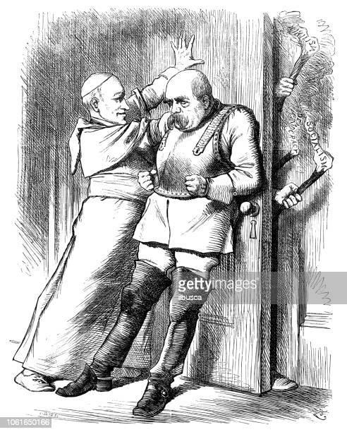ilustraciones, imágenes clip art, dibujos animados e iconos de stock de sátira británica londres caricaturiza comics dibujos animados ilustraciones: papa y rey - socialismo
