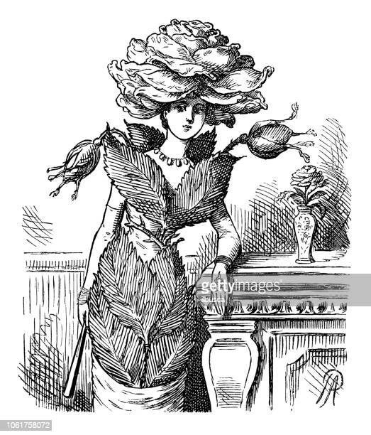 british london satire caricatures comics cartoon illustrations: rose - satire stock illustrations