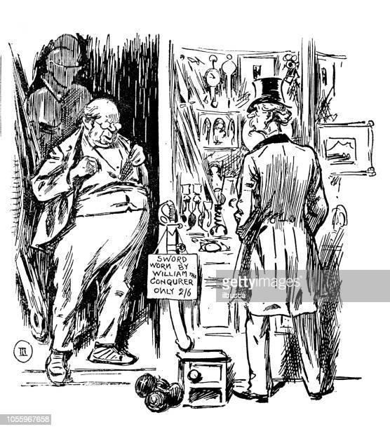 ilustrações, clipart, desenhos animados e ícones de sátira britânica londres caricatura de quadrinhos desenhos animados ilustrações: loja de antiguidades - século xix