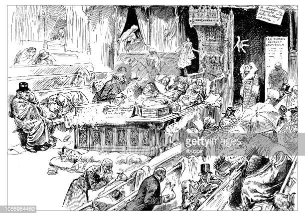 British London satire caricatures comics cartoon illustrations: Sick house of Commons