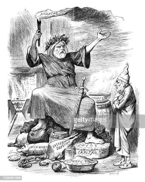 british london satire caricatures comics cartoon illustrations: spirit of christmas present - christmas past and christmas present stock illustrations