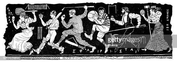 British London satire caricatures comics cartoon illustrations: Sports bas-relief