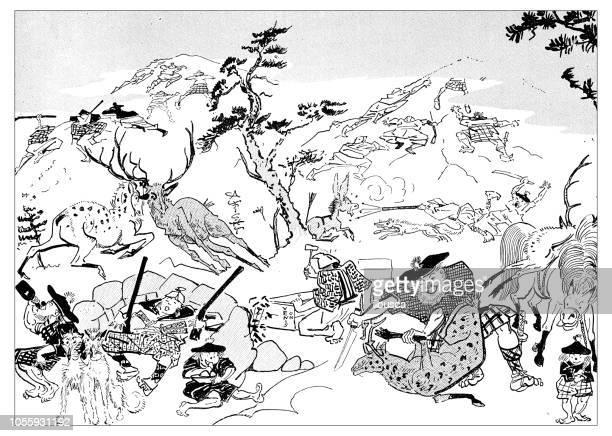 british london satire caricatures comics cartoon illustrations: stag hunting - satire stock illustrations