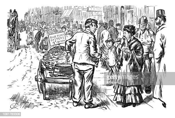 British London satire caricatures comics cartoon illustrations: Street Oysters