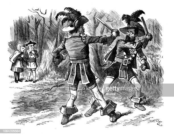 british london satire caricatures comics cartoon illustrations: sword fight - dueling stock illustrations, clip art, cartoons, & icons