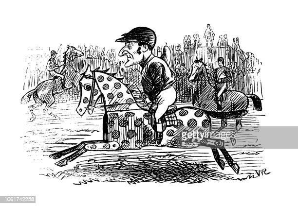 British London satire caricatures comics cartoon illustrations: Toy horse