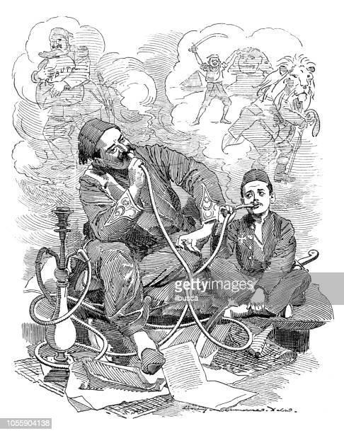 british london satire caricatures comics cartoon illustrations: turks smoking - hookah stock illustrations, clip art, cartoons, & icons