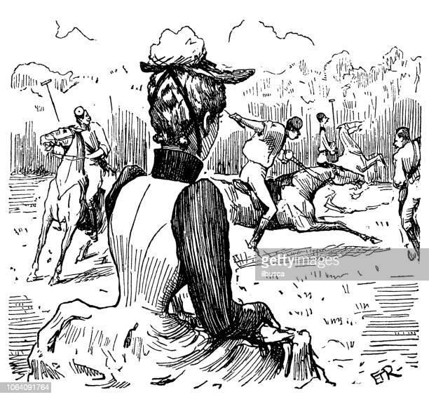 British London satire caricatures comics cartoon illustrations: Woman watching polo