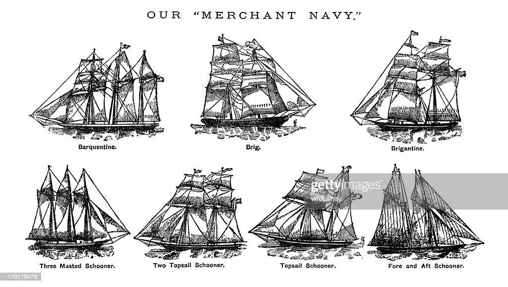 British Merchant Navy ships c1880 : stock illustration